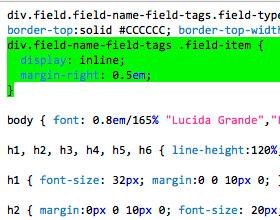 Drupal horizontal tags, inline tags