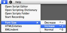 BBEdit font size menu added by using scripts